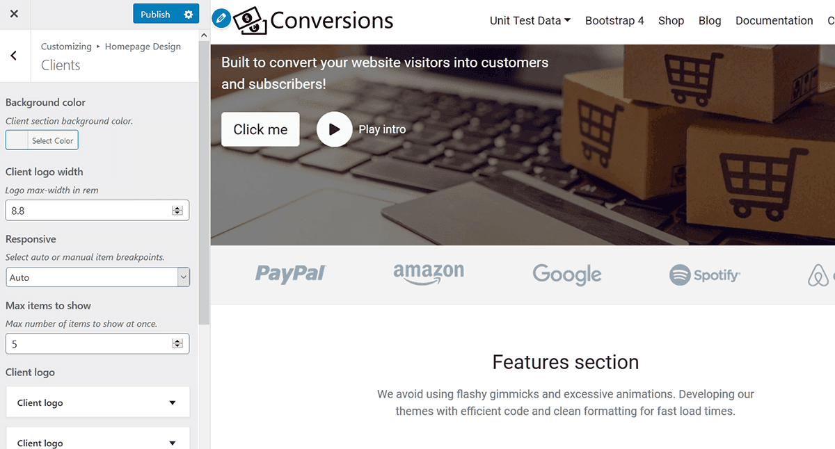 homepage clients section