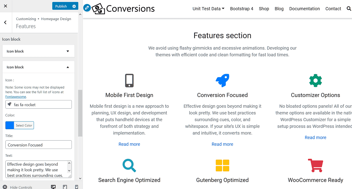 homepage icon features