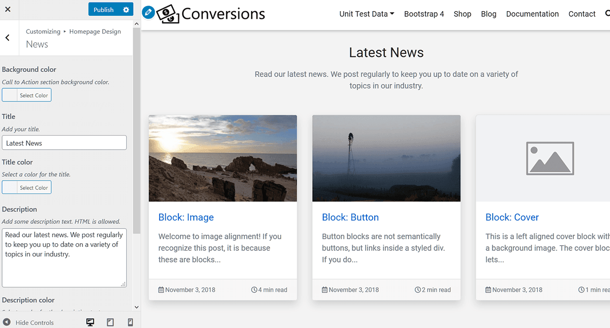 homepage news section