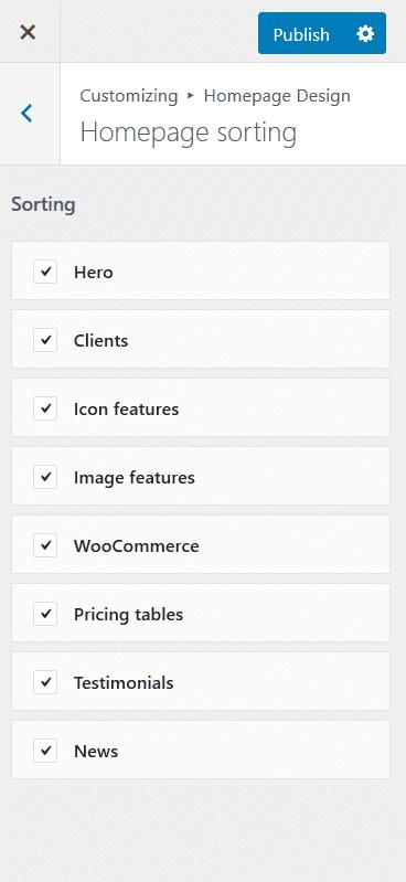 homepage sorting customizer