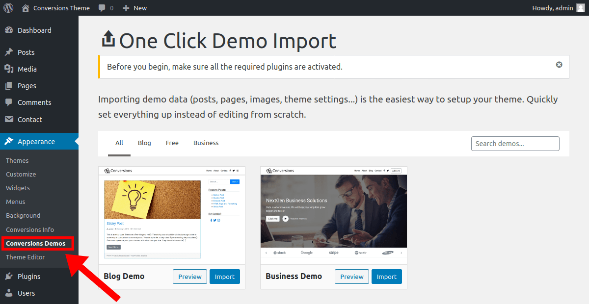 import a demo site